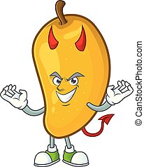 Devil character mango fruit with cartoon mascot
