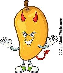 Devil character mango fruit with cartoon mascot