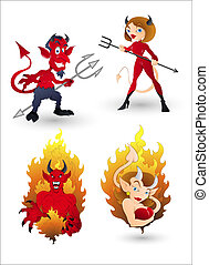 Devil Characters for Halloween - Creative Abstract...