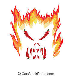 Chilli abstractly in devil design on the white background.