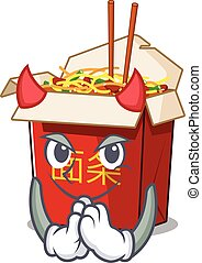Devil chinese box noodle Cartoon character design