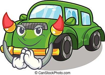 Devil classic car in the shape mascot