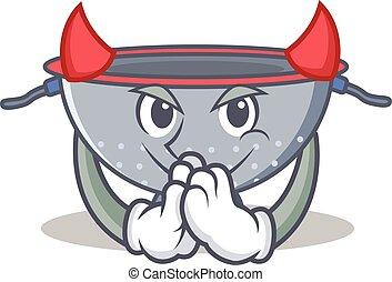 Devil colander utensil character cartoon vector illustration