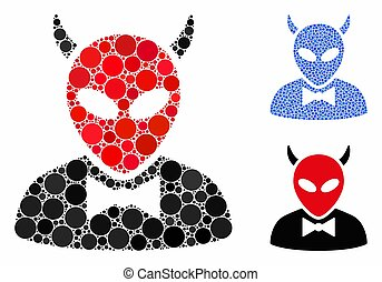 Devil mosaic of small circles in various sizes and color tones, based on devil icon. Vector small circles are organized into blue mosaic. Dotted devil icon in usual and blue versions.