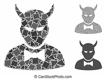 Devil composition of joggly pieces in various sizes and color tints, based on devil icon. Vector joggly elements are organized into composition. Devil icons collage with dotted pattern.