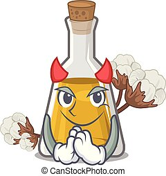 Devil cottonseed oil in the cartoon shape vector ...