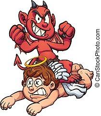 Devil defeating angel