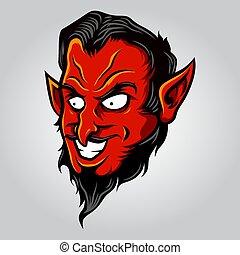 Devil Demon Head Illustration Vector in Cartoon Style