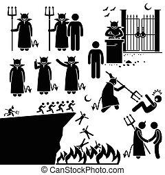 Devil Demon Satan Hell Underworld - Human pictogram ...