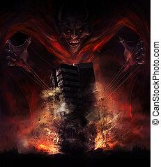 Devil destruction - Smiling demon looking creature...
