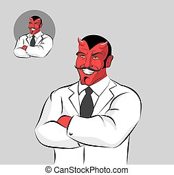 Devil doctor. Satan with horns in doctors white coat. Horrible Red Monster with moustache laughs. Hell doctor. Demon in white garment. Medical worker traits
