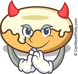 Devil donut with sugar mascot cartoon
