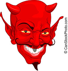 Devil face - A red cartoon style devil face