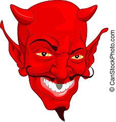 Devil face - A red cartoon style devil face