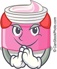 Devil face cream isolated with the mascot