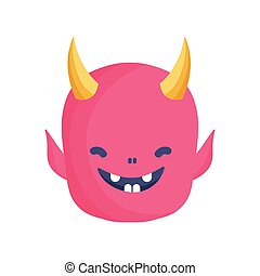 devil face icon trick or treat happy halloween