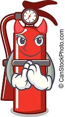 Devil fire extinguisher mascot cartoon