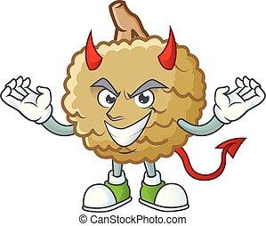 Devil fresh marolo fruit character mascot in cartoon