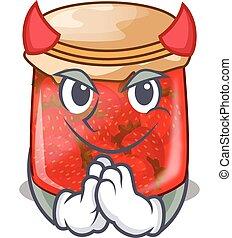 Devil fresh tasty strawberry jam on mascot vector...