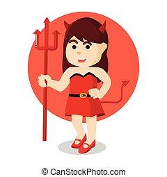 devil girl holding trident weapon