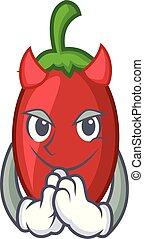 Devil goji berries mascot cartoon