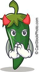 Devil green chili character cartoon