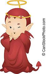 Devil Halo - Illustration of a Naughty Little Devil Wearing...