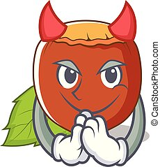 Devil hazelnut mascot cartoon style