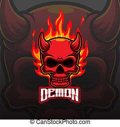 Devil head e sport mascot logo
