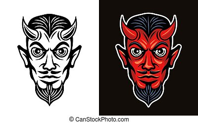 Devil head in two styles black and colorful vector