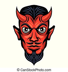 Devil head with horns colored illustration