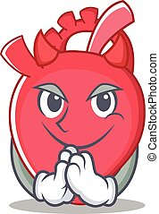 Devil heart character cartoon style