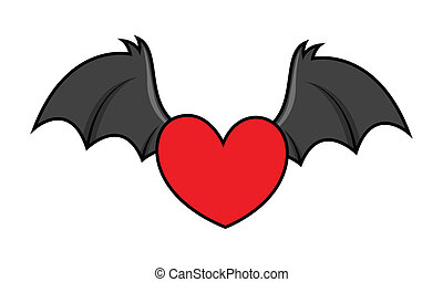 Gothic heart and wing.