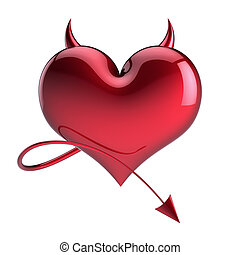 Devil heart shape abstract red with horns and tail