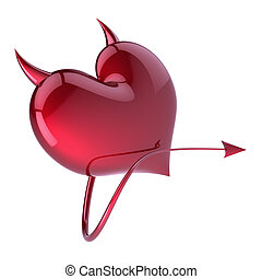 Devil heart shape red, fake love abstract