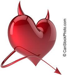 Devil heart shape shiny red symbol