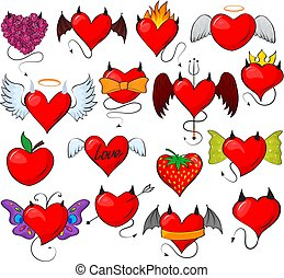 Devil heart vector lovely red sweetheart with horns wings on loving valentine day card illustration romantic set of hearted loving evil design strawberry isolated on white background