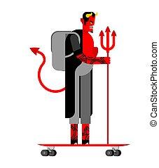 Devil Hipster and longboard. Satan Fashionable look. Demon ...
