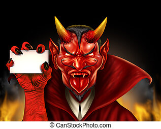 Devil Holding Sign - Devil holding a blank sign as a red...