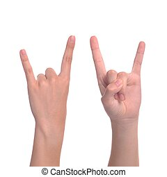 Devil horns - woman hand giving the devil horns gesture (...