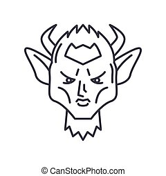 Devil icon, linear isolated illustration, thin line vector, web design sign, outline concept symbol with editable stroke on white background.