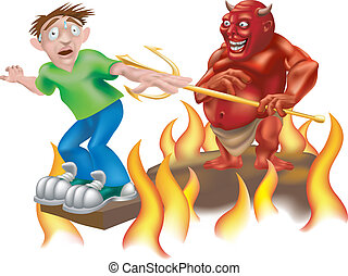 A devil laughing as he makes someone walk the gangplank!