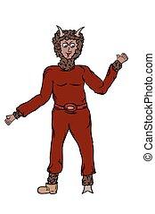 devil in dark red dress with brown fur