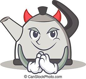 Devil kettle character cartoon style vector illustration