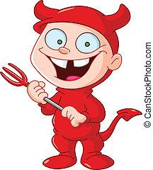 Smiling kid in a devil costume celebrating Halloween