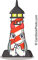 Devil lighthouse on the beach mascot