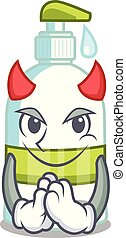 Devil liquid soap isolated with on mascot