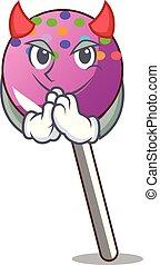 Devil lollipop with sprinkles mascot cartoon