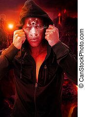Devil man in hell - Scary portrait of a devil figure in hell...