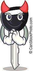 Devil mascot ilustration featuring on car key